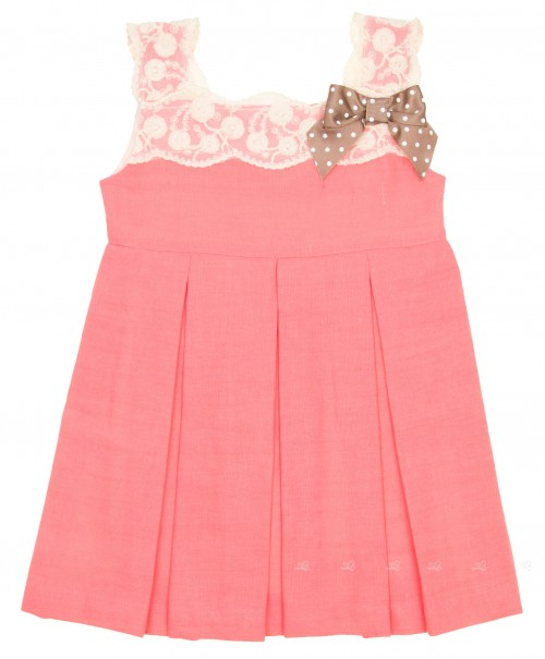 Coral Pink & Ivory Structured Dress