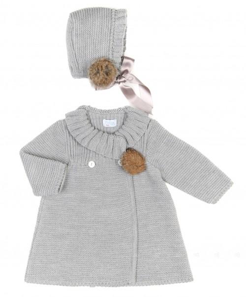 Baby Gray Knitted Pram Coat & Bonnet Set with Pom Poms