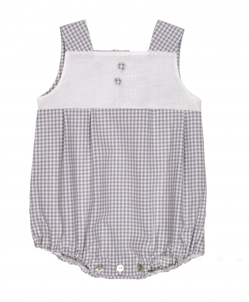 Light Gray & White Check Cotton Shortie