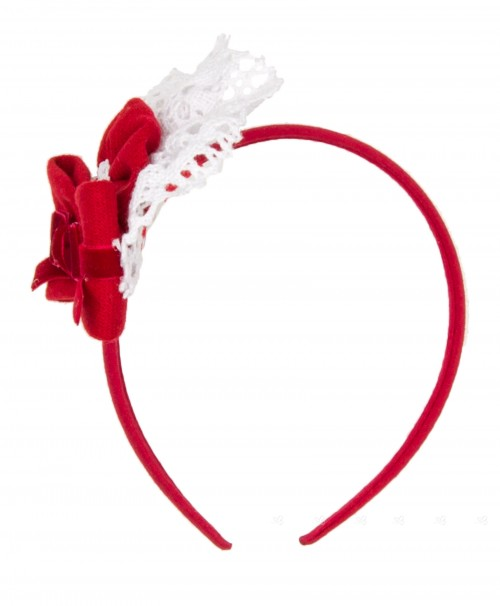 Red & White Lace Hairband with Velvet Bow
