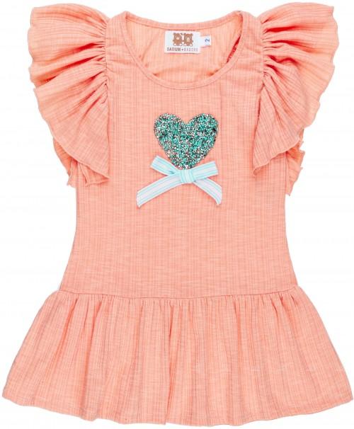 Vestido Niña Manga Mariposa Coral & Corazón Glitter Verde Agua