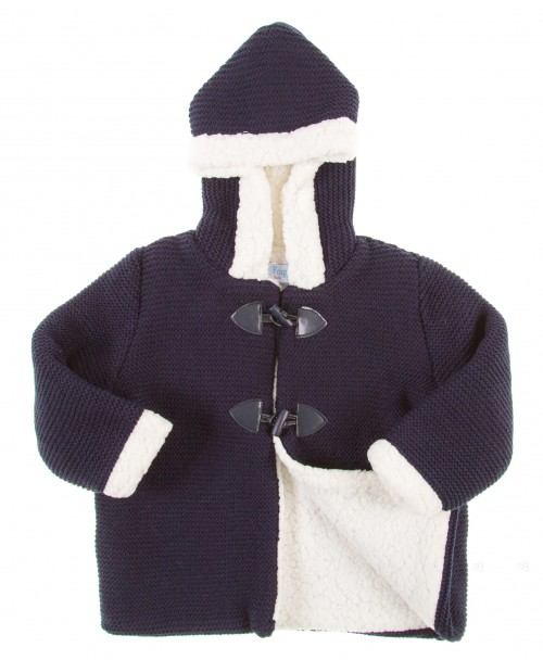 Navy Blue Knitted Duffle Coat with Hood
