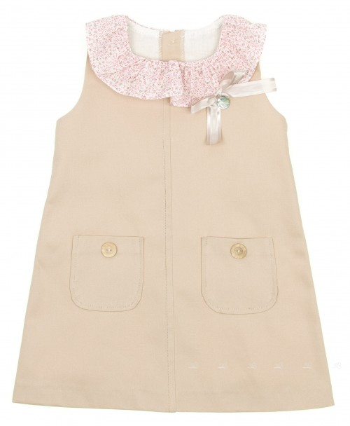 Beige Cotton Dress with liberty ruffle collar