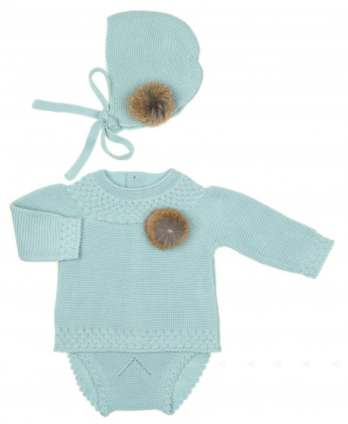 Baby Pale Turquoise Knitted Sweater, Knickers & Bonnet Set with Fur Pom-Poms