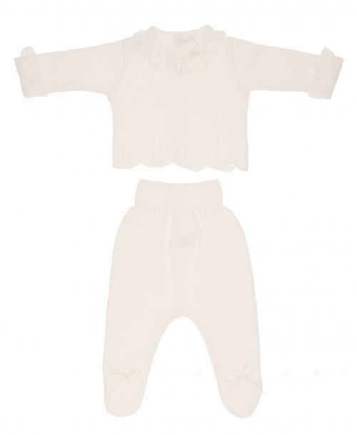Baby ivory 2 piece set with silk frill