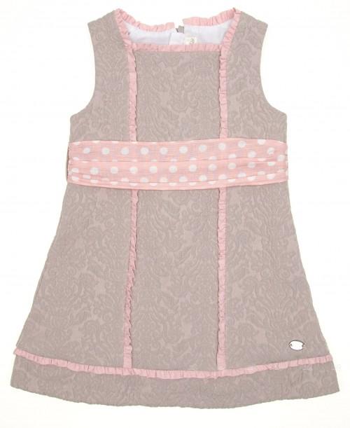 Beige & Pale Pink Jacquard Dress With Spot Belt