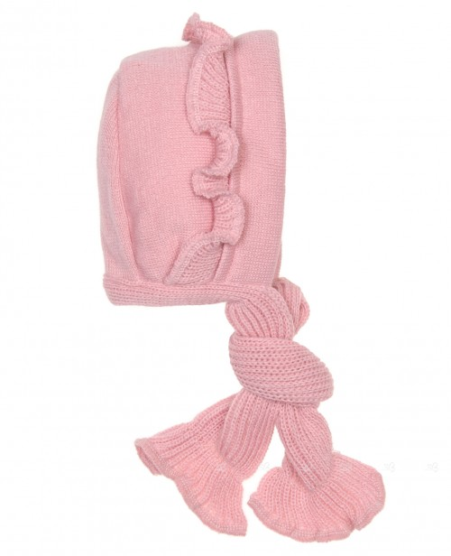Baby Pink Knitted Frilly Bonnet With Cotton Lining