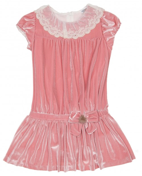 Girls Pink Velvet Dress with Lace Collar
