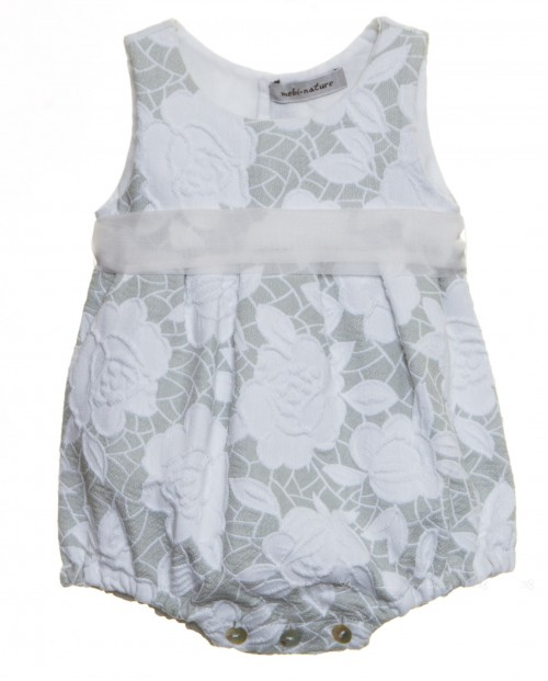 Gray & White Brocade Shortie with Silk Frill