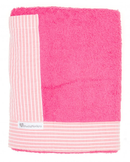 Pink & Stripes Towel With Pocket