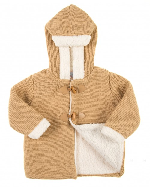 Beige Knitted Duffle Coat with Hood