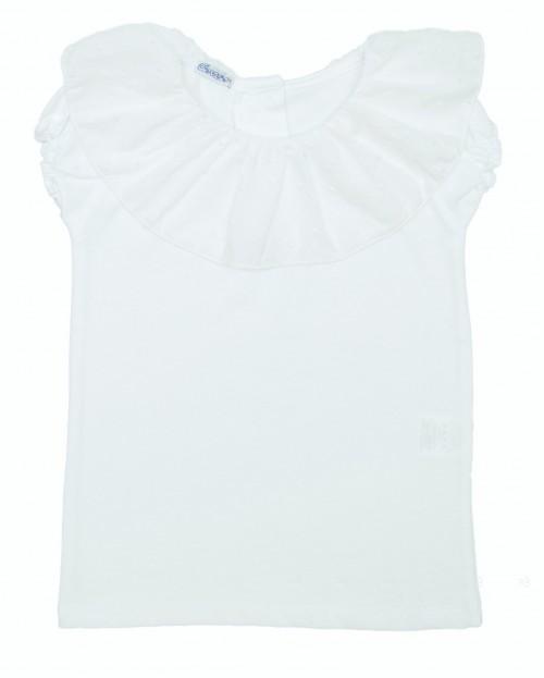 White Cotton T-Shirt with Polka Dot Ruffle Collar