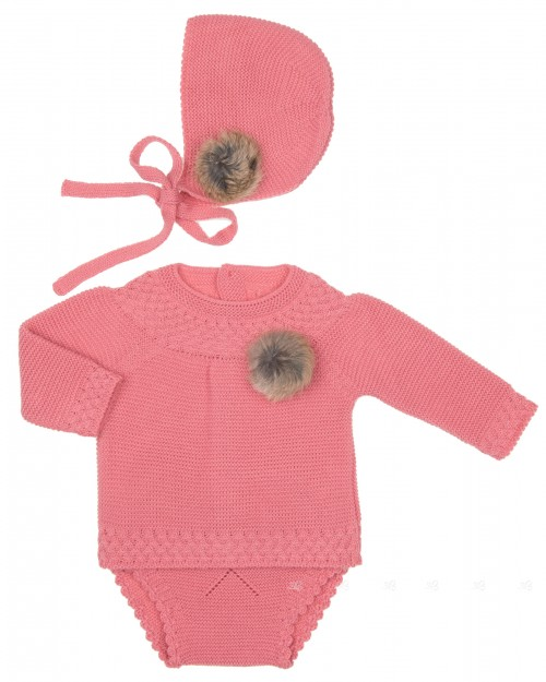 Baby Pink Knitted Sweater, Knickers & Bonnet Set with Fur Pom-Poms