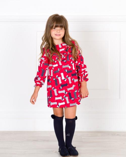 4e07a20358e2 Girls Red   Navy Blue Dog Print Dress Outfit