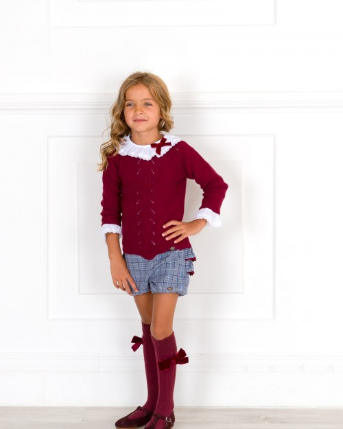 d27a5e4738 Girls Burgundy Sweater White Blouse & Blue Glen Plaid Shorts Set Outfit