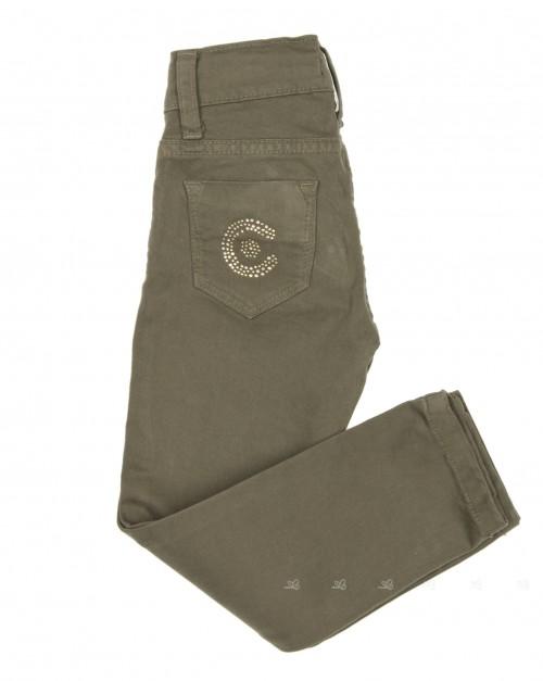 Girls Khaki Cotton Skinny Fit Trousers