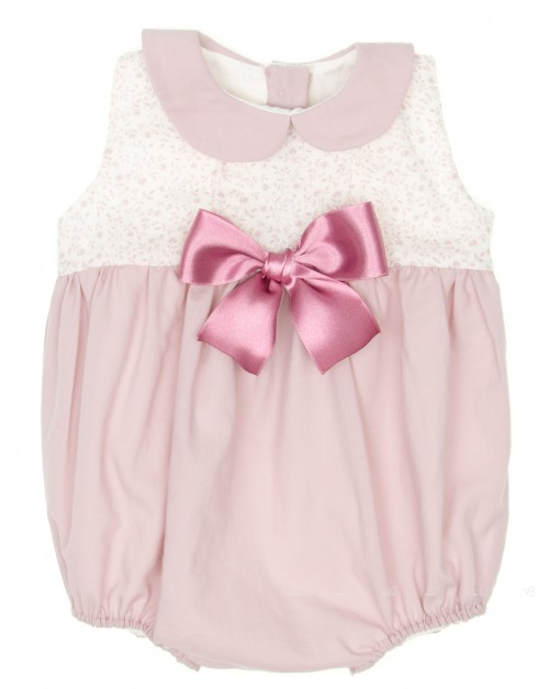 Pale Pink & Liberty Babysuit with satin bow