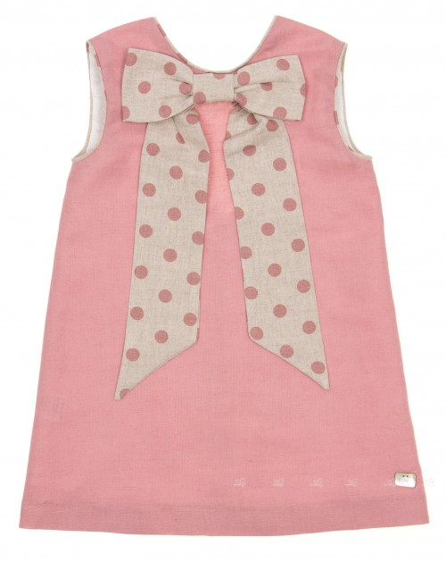 Girls Dusky Pink Dress with Spotted Maxi Bow