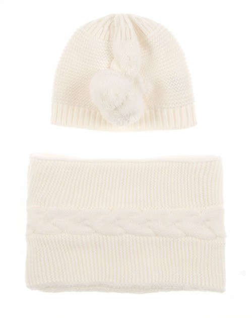Ivory Knitted Hat & Scarf Set with Pompoms