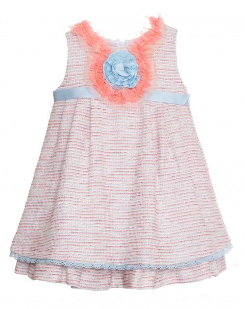 vestido niña tweed azul y rosa Aire Kauli verano compra online