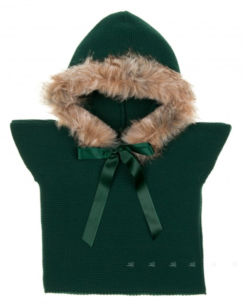 Bottle Green Knitted Poncho Gillet With Synthetic Fur Hood & Satin Bow
