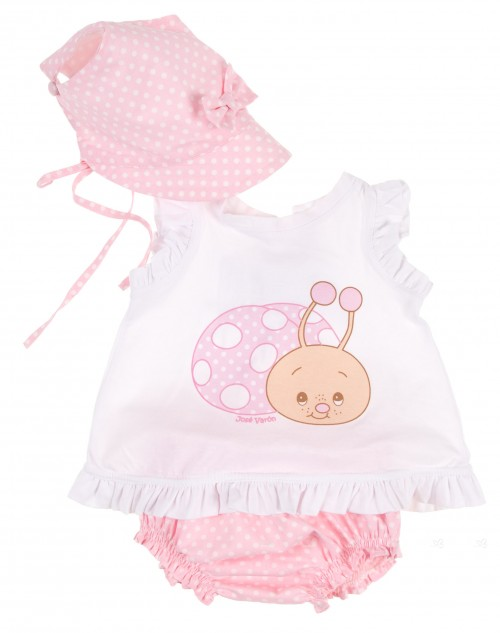 Baby Girls Pink & White Snail 3 Piece Swim Set