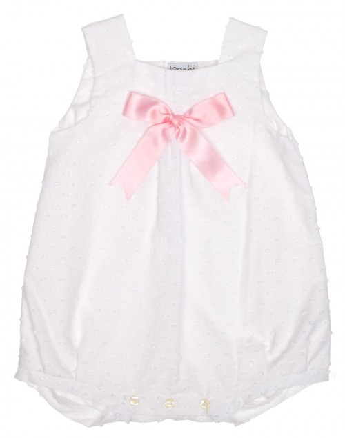 White polka dot shortie with pink satin bow