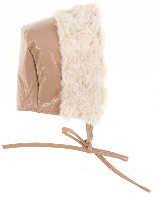 Beige Patent Fleece Lined Bonnet with Synthetic Fur