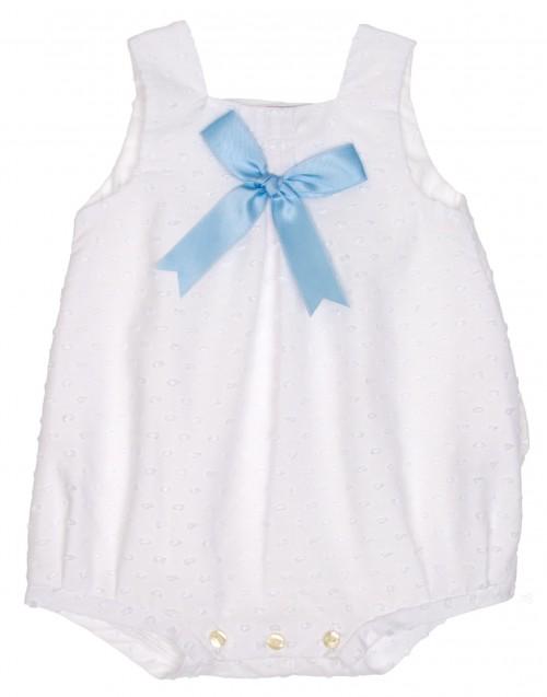 White polka dot shortie with blue satin bow