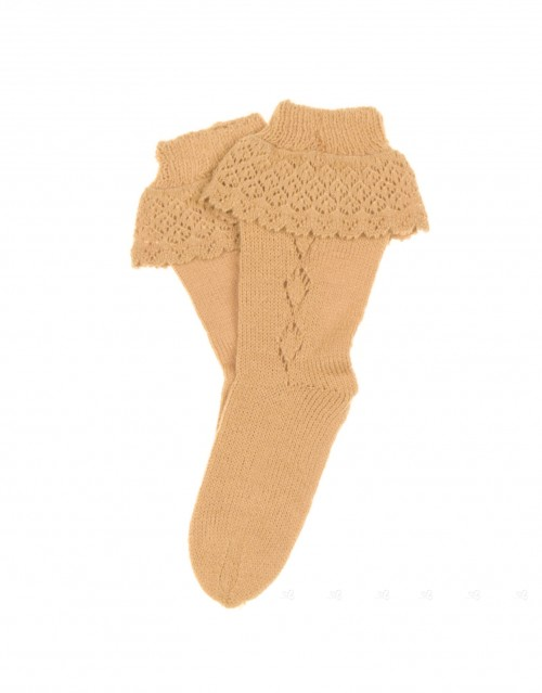 Mustard Fine Knitted Ruffle Socks