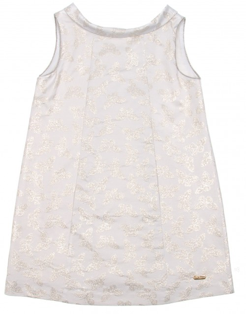 Metalic Silver Butterfly Shift Dress