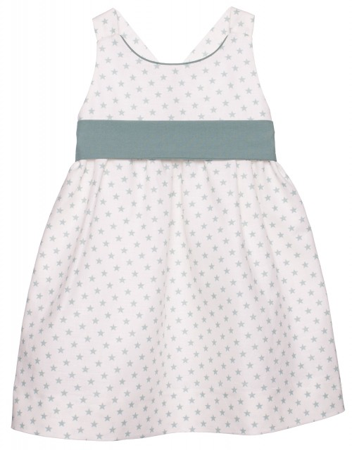 Ivory & Pastel Green Cross Back Stars Print Dress with ribbon belt
