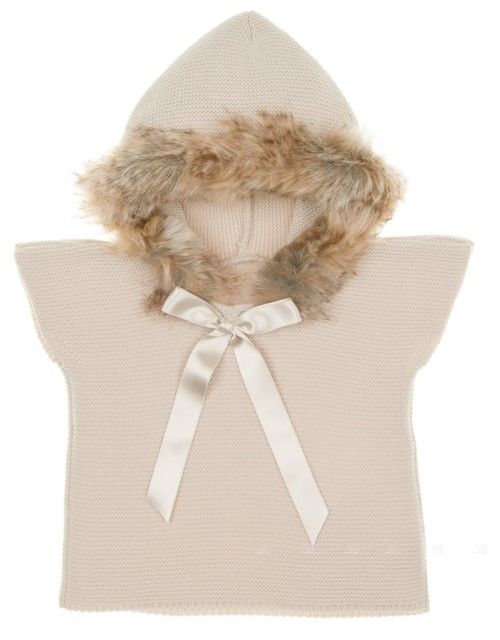 Beige Knitted Poncho Gillet With Synthetic Fur Hood & Satin Bow