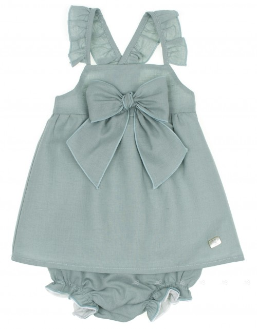 Pastel Green Dress & Knickers Set with Maxi Bow