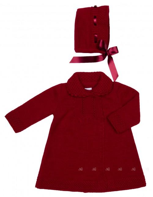 Baby Girls Burgundy Knitted Coat & Bonnet Set