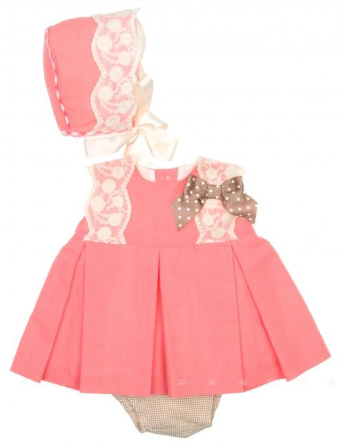 Coral Pink & Lace 3 Piece Dress Set