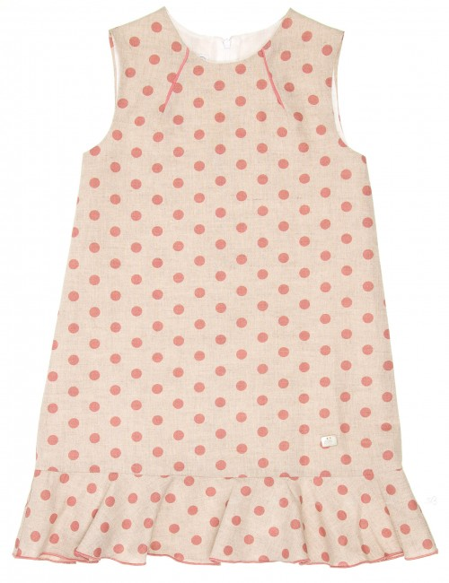 Girls Beige & Pink Ruffle Hem Dress