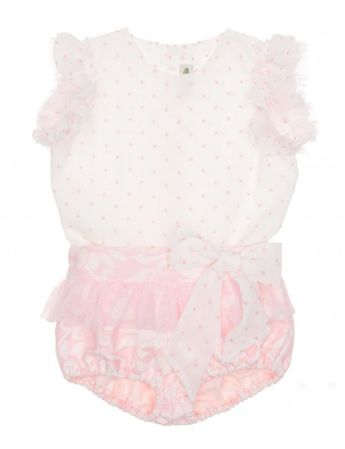 Ivory & Pink Polka Dot Top & Jacquard Ruffle Short Set