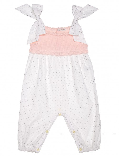 Pink & White Extra Soft Cotton Polka Dot Jumpsuit