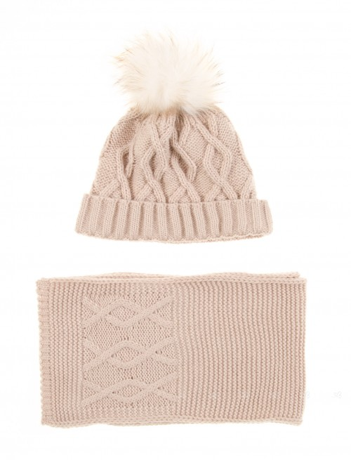 Beige Knitted Hat & Scarf Set with Fur Pompom