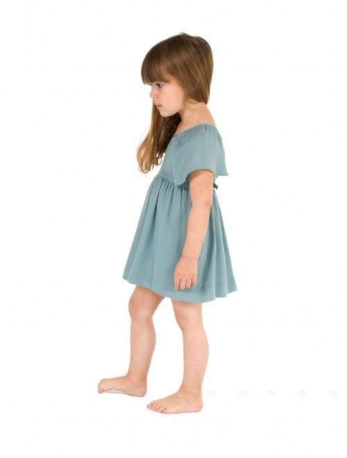 Green Viscose Cross Back Dress