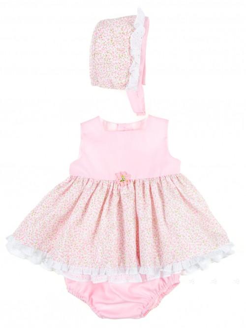 Baby Pink Floral Piqué 3 Piece Dress Set