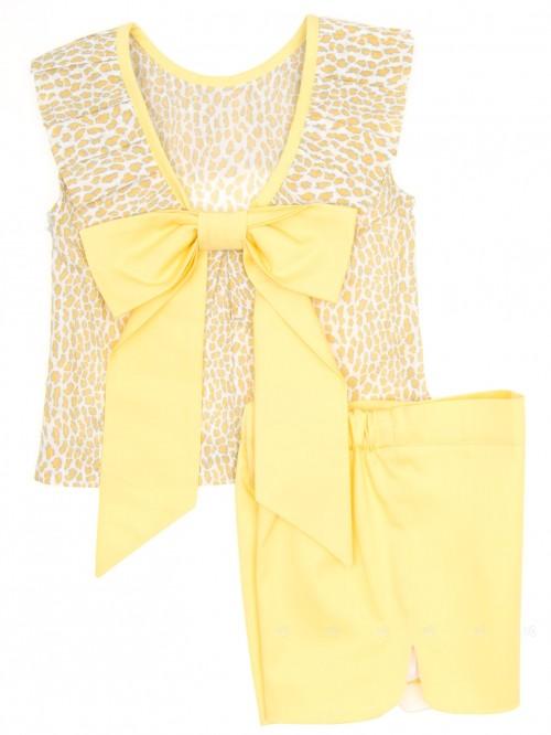 Yellow Animal Print Top & Short Set