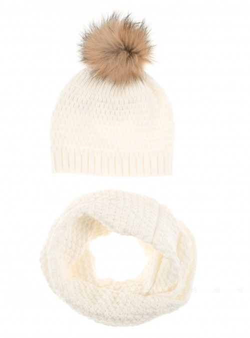 Ivory Knitted Hat & Snood Set with Fur Pompom