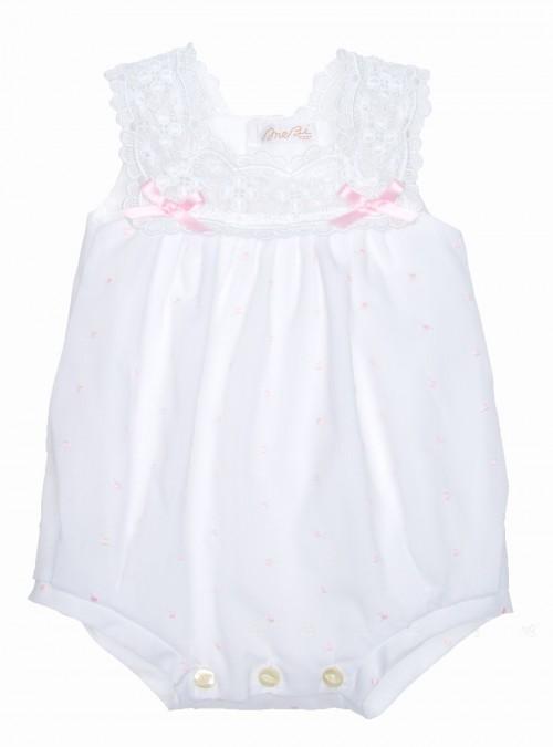 White & Pink Polka Dot Lace Babysuit