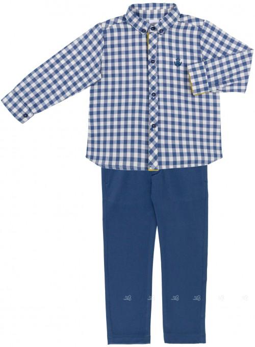 Conjunto Niño Camisa Cuadros & Pantalón Azul