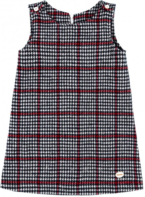 Cocote Girls Red & Navy Blue Checked Dress