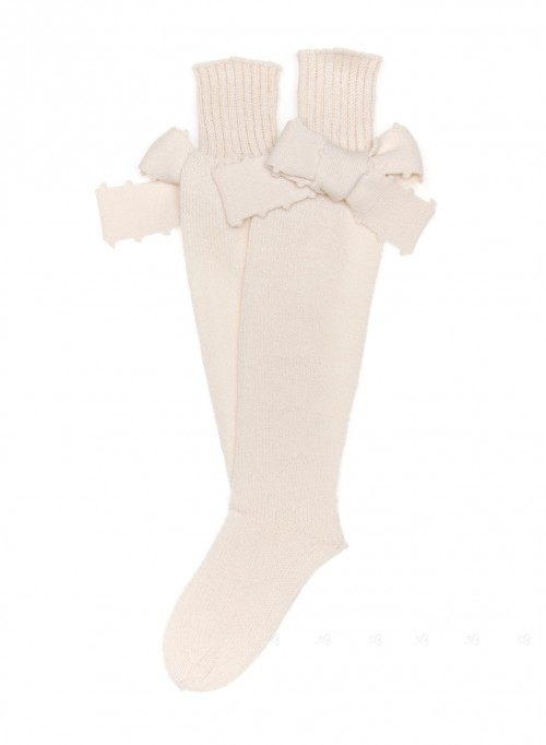 Beige Fine Knitted Long Socks Bows