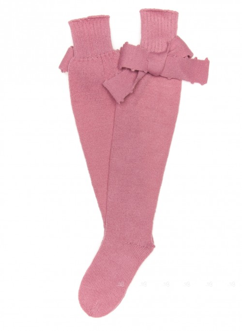 Dusky Pink Fine Knitted Long Socks with Bows