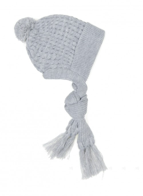 Baby Grey Knitted Hat with Scarf